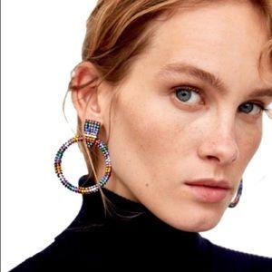 Zara rainbow crystal hoop earrings